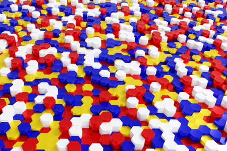 Abstract multicolor red blue yellow and white hexagon background geometric layer, 3d rendering.
