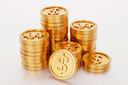 Stack of gold coin, business banking and financial concept. 3d render. 版權商用圖片