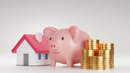 Piggy bank and model house with stack of gold coin, Saving money for house concept, 3D render