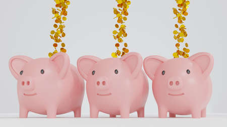 Piggy bank with falling gold coin, saving or save money or open a bank deposit concept, 3d render.