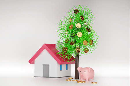 Money tree with coin and leaf, coin falling around model house and piggy bank, banking saving money for buy house concept, 3d render.