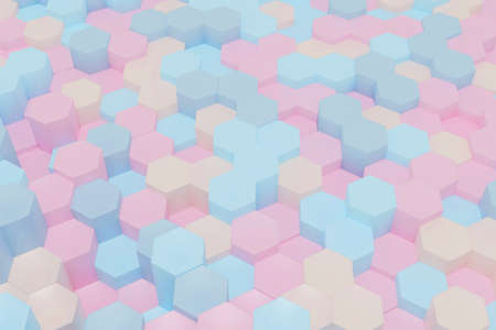 Abstract simple hexagon background in marshmallow color tone, for valentine and holiday celebration, 3d rendering.