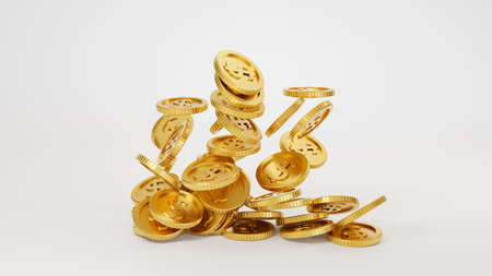 Falling gold coins money, business banking and financial concept. 3d render.