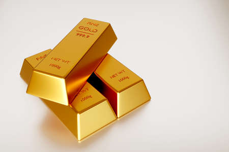 Gold ingot or stack of gold bars, business banking and financial concept. 3d render.