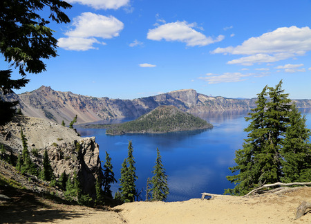 crater lake: Wizard Island in Crater Lake.