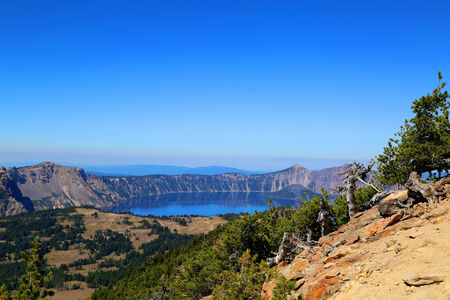 View of Crater Lake, Oregon from a high mountain hikin trail.