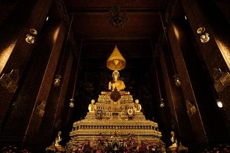 buddha image: Buddha image Phra Buddha Deva Patimakorn in Wat Pho. Horizon Stock Photo