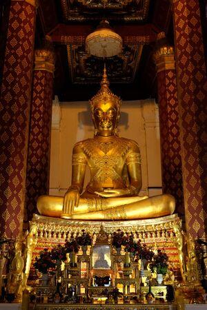 subduing: Subduing Mara Buddha image of Wat Nah Phramen, Ayutthaya, Thailand. Vertical 1
