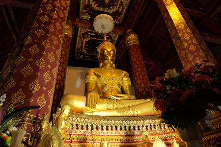 subduing: Subduing Mara Buddha image of Wat Nah Phramen, Ayutthaya, Thailand. Oblique 1
