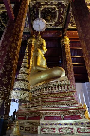 subduing: Subduing Mara Buddha image of Wat NahPhramen, Ayutthaya, Thailand.