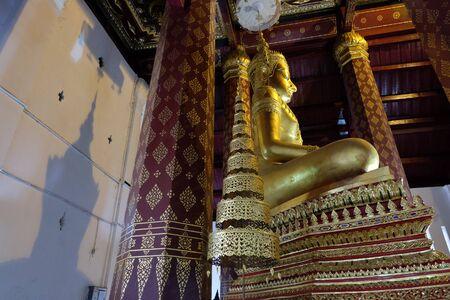 subduing: Shadow of Subduing Mara Buddha image of Wat NahPhramen, Ayutthaya, Thailand