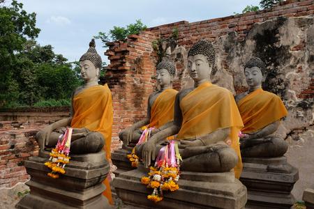 subduing: Subduing Mara Buddha image at Wat Putthaisawan, Ayutthaya, Thailand.