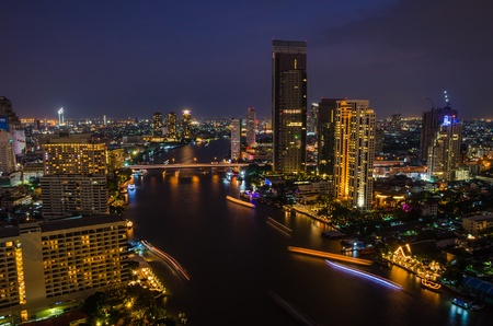 A  chaophraya river and bangkok city