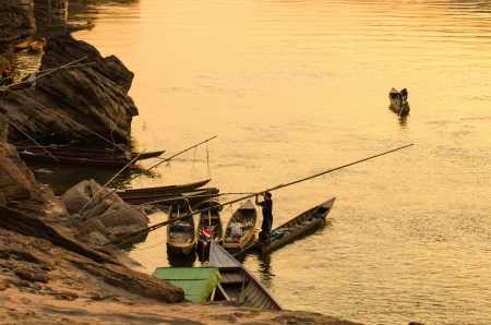 Sunset dock of kong river in ubon-ratchathani