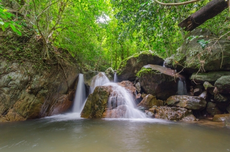 Small waterfall in deep jungle