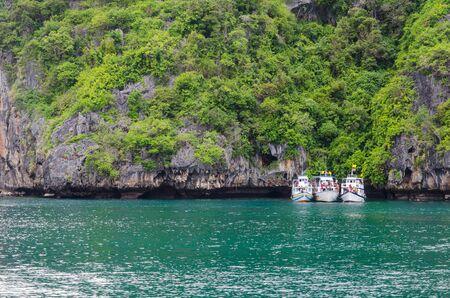 Three boats park the island Stock Photo