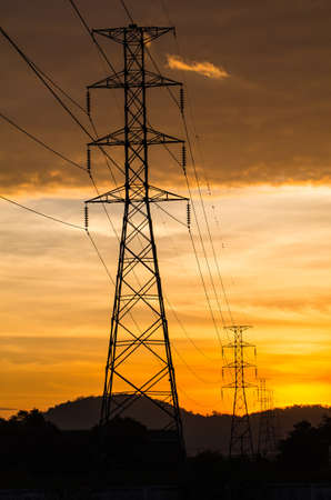 Electrical tower with sunrise view