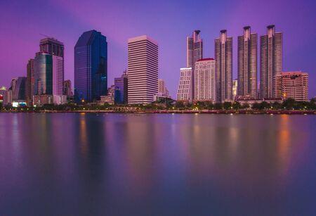 benjakitti: Bangkok city in the twilight screen view from benjakitti garden
