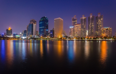 benjakitti: Bangkok city in the night screen view from benjakitti garden