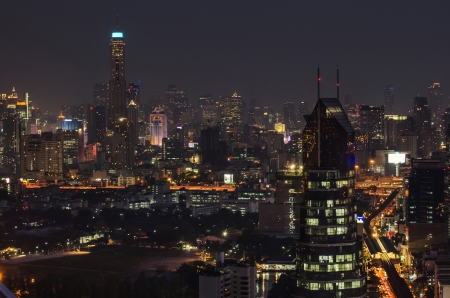 Bangkok city in the night screen with BTS view