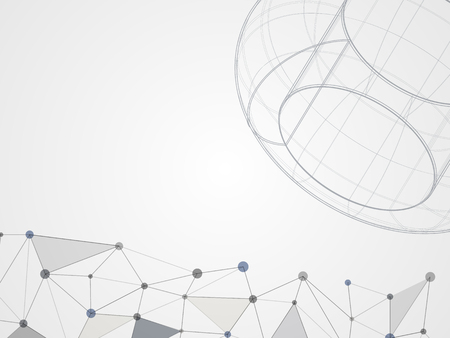 Abstract background with sphere and connected line in black and white tone designed for technology background. Vector illustration