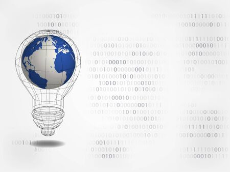 3D world map in bulb with digits on background represents concept of idea and innovation. 일러스트
