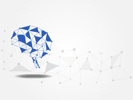 Technology background. Brain model on polygonal background represents concept of idea and innovation. Model of neural network. Concept of new idea for the future. Vector illustration.