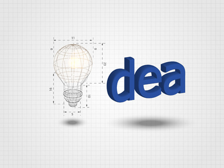 Wireframe lightbulb with text on grid background represent creative idea, innovation concept, inspiration process, thinking out of the box. Technology Background. Vector illustration Illustration