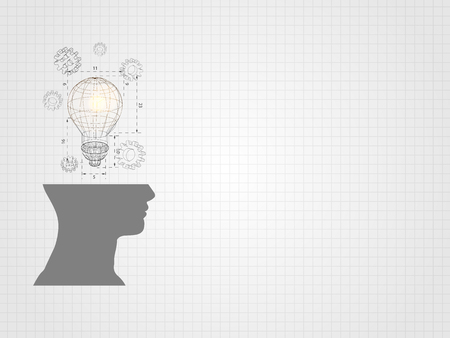 Wire frame light-bulb above human head model on grid background represents concept of engineering and innovation.