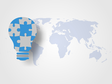 Jigsaw in the lightbulb shape on world map as background represent new idea and innovation concept. Technology Background   Concept of engineering and innovation for our earth. Vector illustration. Illustration