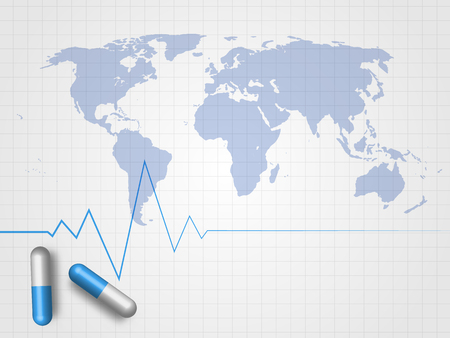 Medicines and heartbeat line on world map and grid background Ilustração