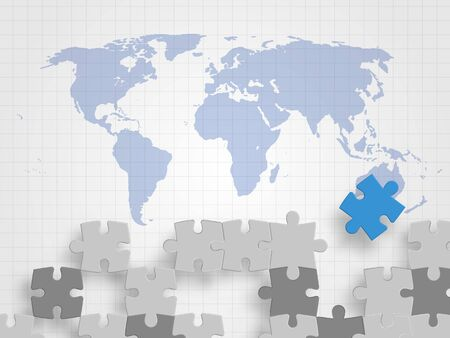 Puzzle pieces on a world map grid background. Imagens - 97227935