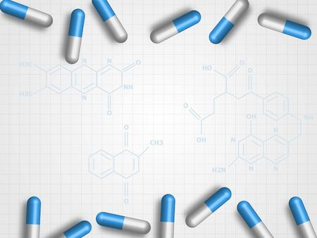 Medicine pills on chemistry formula and grid background