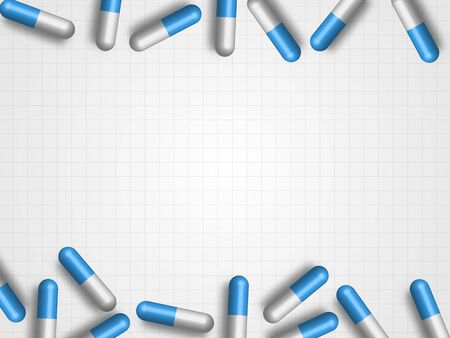 Medicine pills on grey grid background