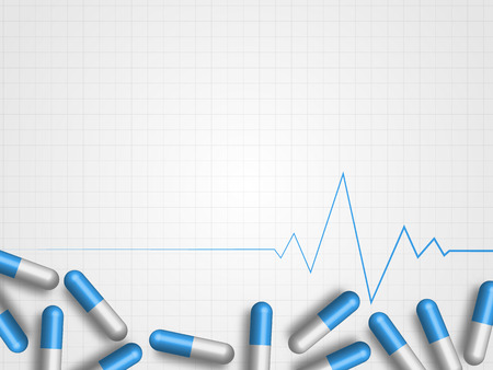 Medicine pills on a grid background with a pulse line Ilustracja