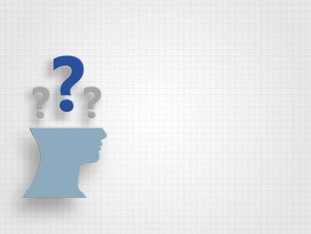 Question marks above half a human head model on a grid background