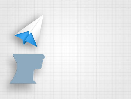 Origami airplane above human head model on grid background represent new idea and innovation concept. Technology Background. Concept of travelling. Vector illustration.