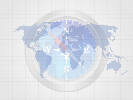 The compass on world map represent concept of travelling. Business concept. Vector illustration.