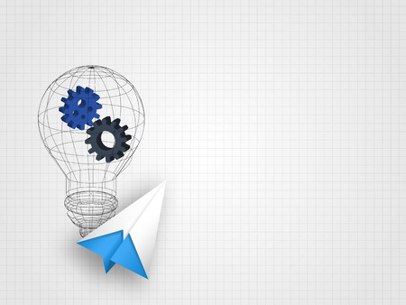 Origami airplane with wire frame light bulb containing gears on grid background represent innovation and technology concept. Technology background vector illustration.