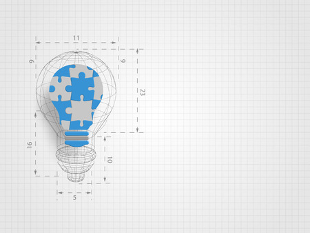 The light bulb wire frame with ratio containing pieces of jigsaw on grid background represent design thinking and innovation concept. Business and idea concept technology background vector illustration.