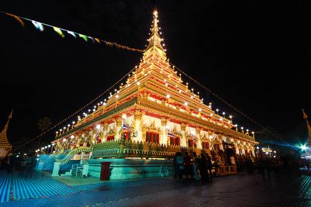 khon: Wat Nong Waeng,the Royal temple, Khon Kaen, Thailand, night time