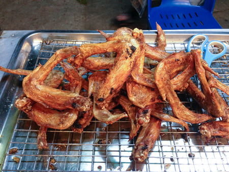 platypus: fried platypus on the Steel tray.( fried duck   wings) Stock Photo