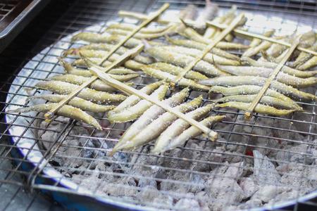 siamensis: spiny eel,Macrognathus siamenis grilled on roaster
