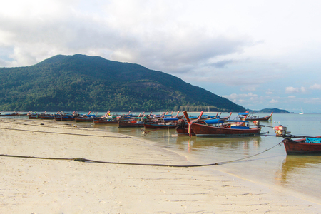Longtail boat and beautiful ocean with blue sky of Koh Lipe island, Thailand