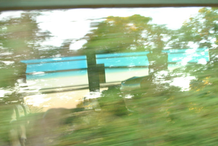 view window of bus a blur