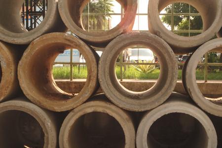 old Concrete Pipe stock Stock Photo