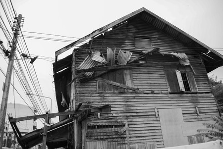 An old wooden house black and white photo