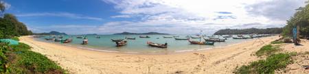 Fishing boat at Rawai beach at phuket thailand,panorama seadscapes