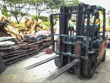 forklift car stand in working site