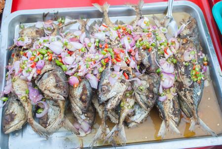 spicy Thai-style salad Fried Salted mackerel fish